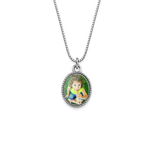 Tiny Oval Photo Pendant