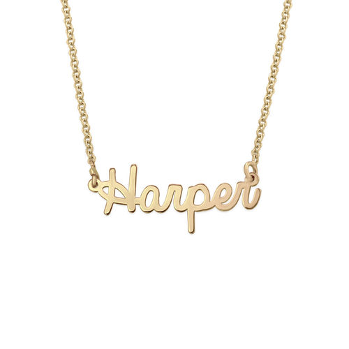 Tiny Personalized Jewelry - Cursive Name Necklace in 18k Gold Plating