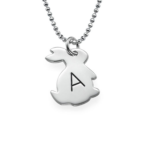 Tiny Rabbit Necklace with Initial in Silver