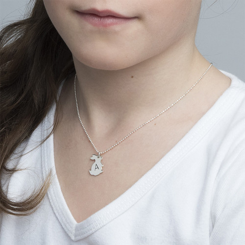 Tiny Rabbit Necklace with Initial in Silver - 1