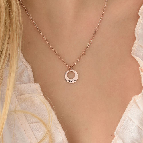 Tiny Rose Gold Plated Mini Disc Necklace - 2