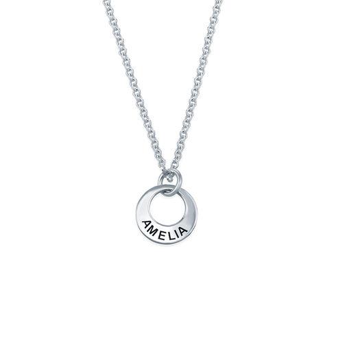 Tiny Silver Mini Disc Necklace