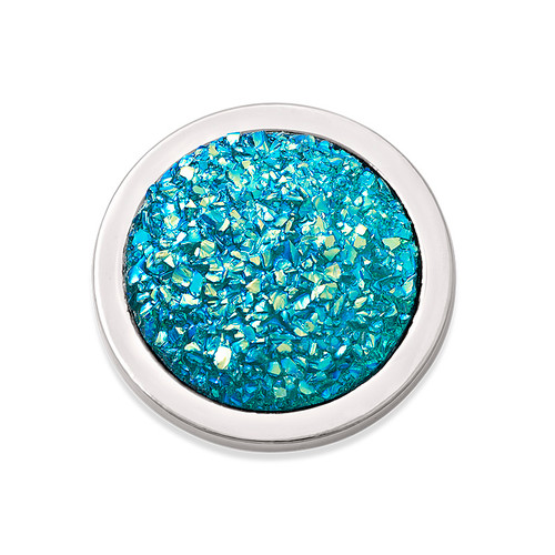 Turquoise Sparkling Coin in Silver