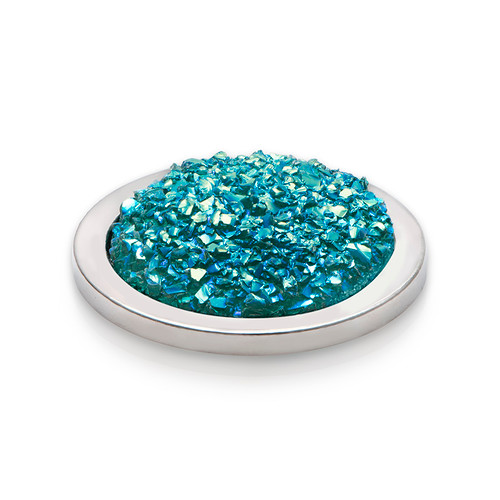 Turquoise Sparkling Coin in Silver - 1