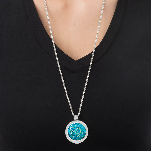 Turquoise Sparkling Coin in Silver - 2