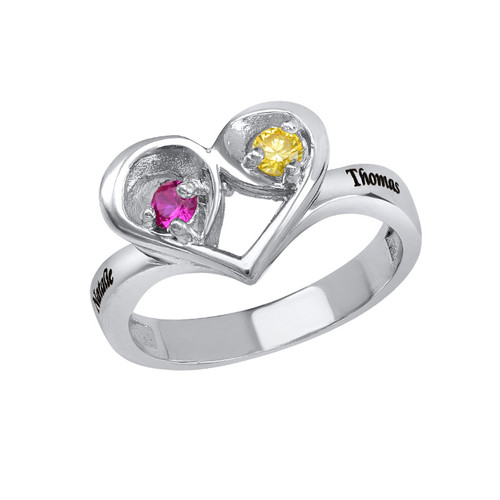 Two Birthstone Heart Ring with Engraving