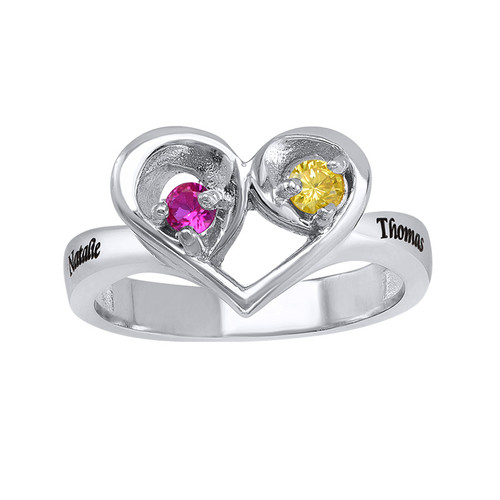 Two Birthstone Heart Ring with Engraving - 1