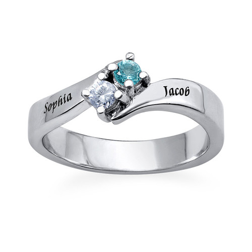 Two Birthstone Ring with Engraving - 1