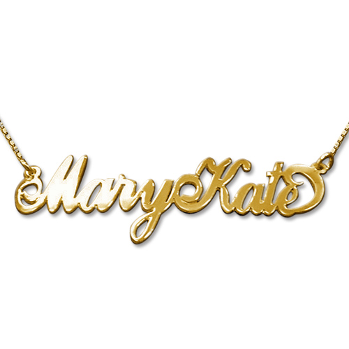 "Two Capital Letters 14k Gold ""Carrie"" Style Name Necklace"