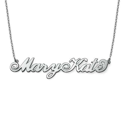 Two Capital Letters Silver Carrie Style Name Necklace