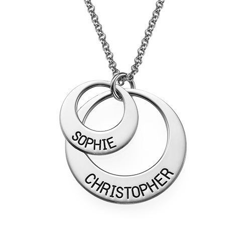 Two Disc Couple's Name Necklace - 1