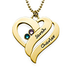 Two Hearts Forever One Necklace - 18k Gold Plated