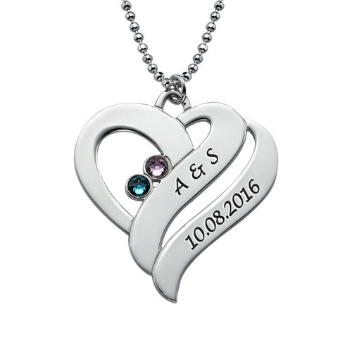 Two Hearts Forever One Necklace with Birthstones - 1
