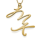 Two Initial Necklace in 18K Gold Plating