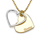 Customized Heart Necklace for Couples in Two Tones