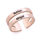 Two names ring in Rose Gold Plating
