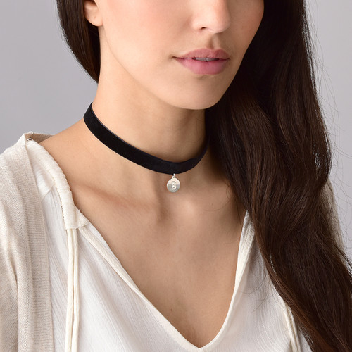 Velvet Choker Necklace with Initial Charm - 2