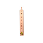 Vertical Bar Charm with Birthstone - Rose Gold Plated