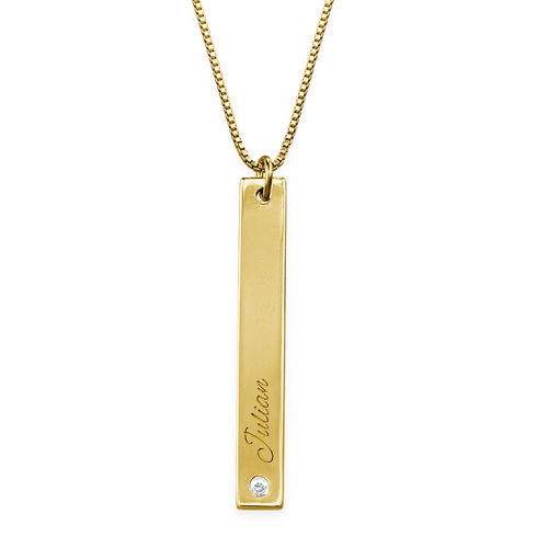 Vertical Bar Necklace Gold Plated with Diamond - 1