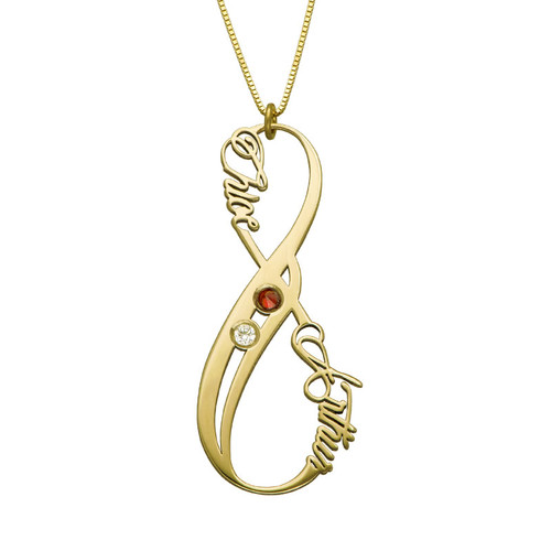 Vertical Infinity Name Necklace 14k Yellow Gold with Birthstones