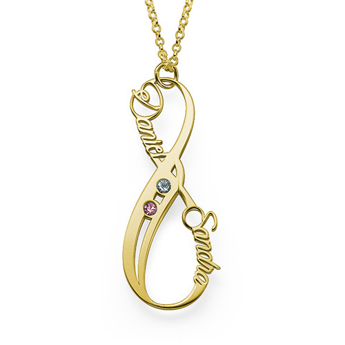 Vertical Infinity Name Necklace with Birthstones with Gold Plating