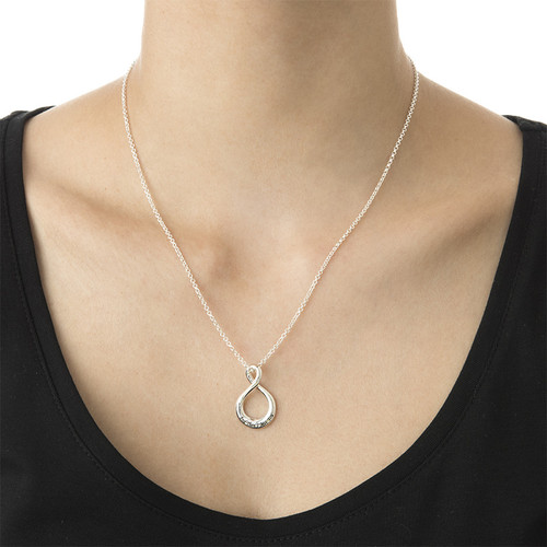 Vertical Infinity Necklace with Engraving - 1