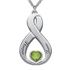 Vertical Infinity Necklace with Heart Shaped Birthstone