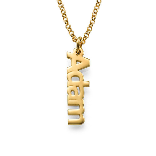 Vertical Name Necklace in 18k Gold Plating - 1