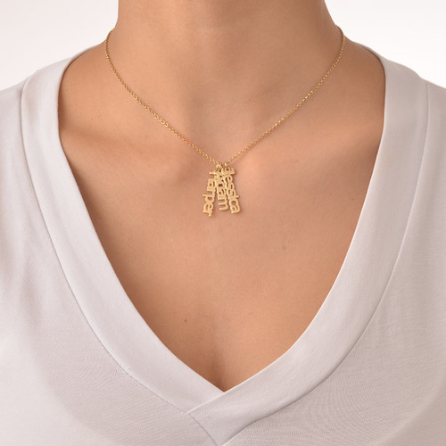 Vertical Name Necklace in 18k Gold Plating - 2