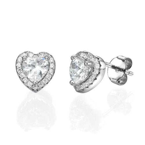 White Cubic Zirconia Heart Stud Earrings