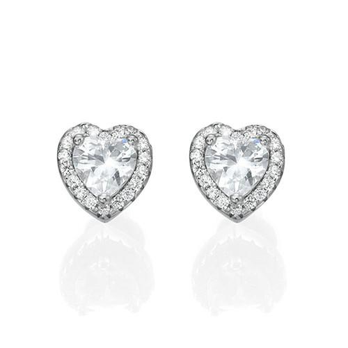 White Cubic Zirconia Heart Stud Earrings - 1