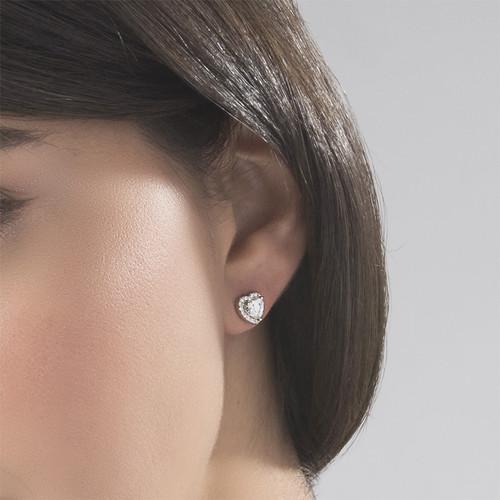 White Cubic Zirconia Heart Stud Earrings - 2