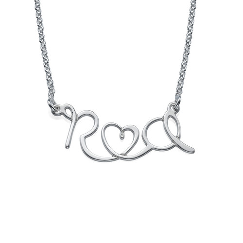 Wire-Style Lovers Initial Necklace