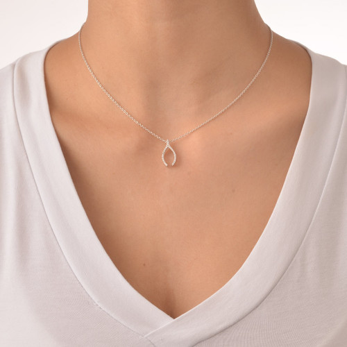 Wishbone Charm Necklace with Cubic Zirconia - 1