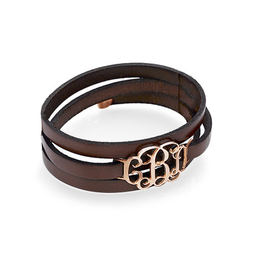 Wrap Around Monogram Leather Bracelet - Rose Gold Plated - 1