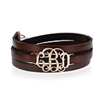 Wrap Around Monogram Leather Bracelet - Rose Gold Plated