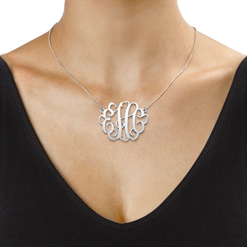 XL Monogram Necklace in Sterling Silver - 1