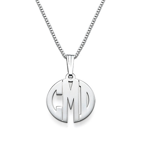 XS Block Monogram Necklace in Silver