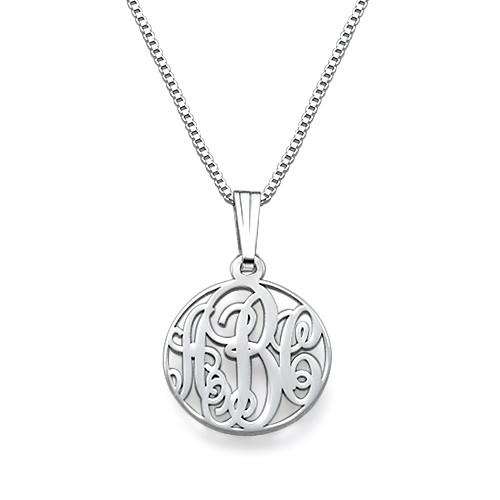 XS Circle Monogrammed Necklace in Silver