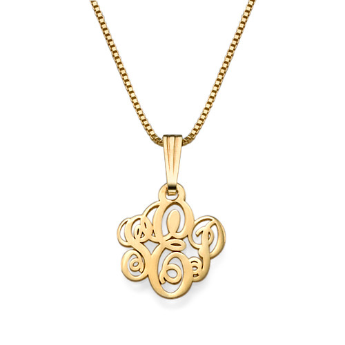 XS Gold Plated Monogram Necklace