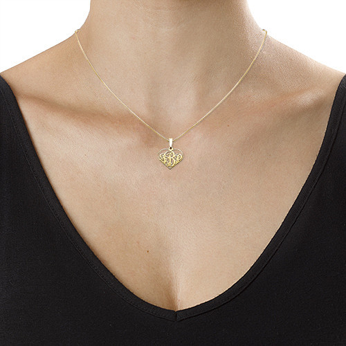 XS Heart Monogram Necklace in 18k Gold Plating - 1