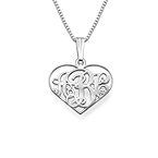 XS Heart Monogram Necklace in Silver