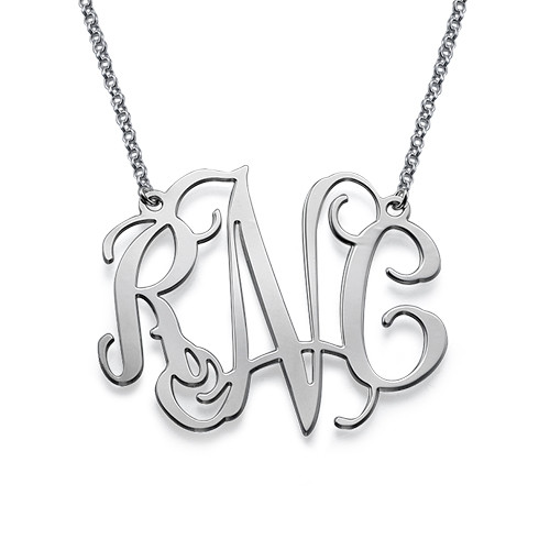 XXL Celebrity Monogram Necklace in Silver