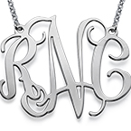 XXL Celebrity Monogram Necklace in Silver