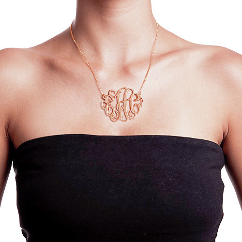 XXL Large Monogram Necklace in 18K Rose Gold Plated