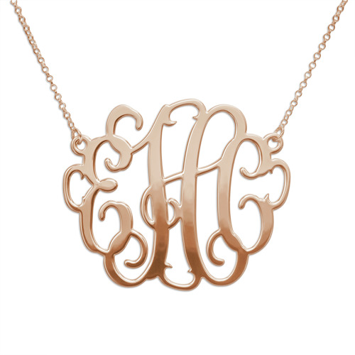 XXL Large Monogram Necklace in 18K Rose Gold Plated - 1