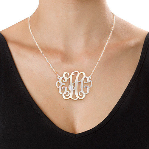 silver xxl statement monogram necklace
