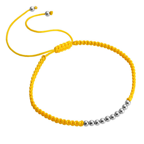 Yellow Cord Bracelet with Silver Beads