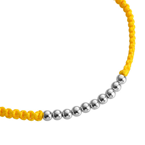 Yellow Cord Bracelet with Silver Beads - 1