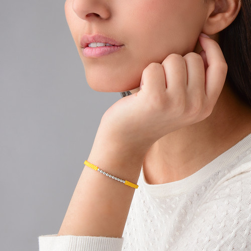 Yellow Cord Bracelet with Silver Beads - 2